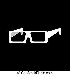 fehér, szemüveg, ikon