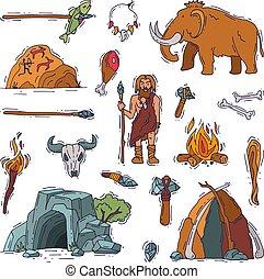 fehér, történelem előtti, ősi, emberek, neanderthale, ...