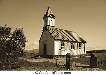 fehér, templom, alatt, thingvellir, -, izland