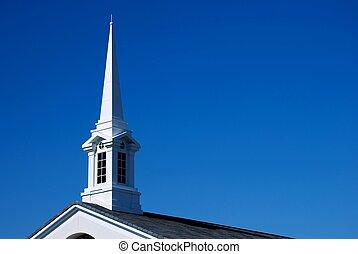 fehér, templom, -, horizontális, templomtorony