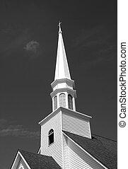 fehér, templomtorony, fekete, templom