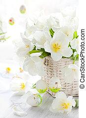 fehér, tulipánok, alatt, egy, kosár, és, húsvét, elpirul pete