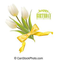 fehér, tulipánok, képben látható, egy, kártya, helyett, születésnap