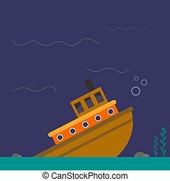 fehér, vektor, ábra, háttér., hajó, süllyedő