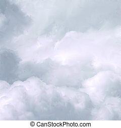 fehér, vektor, ég, clouds.