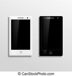 fehér, vektor, fekete, smartphones