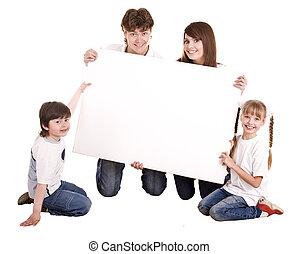 fehér, vidám család, banner.