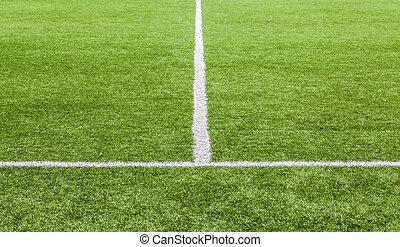 fehér, vonal, képben látható, a, zöld, futball terep