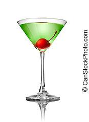 fehér, zöld, elszigetelt, koktél, martini