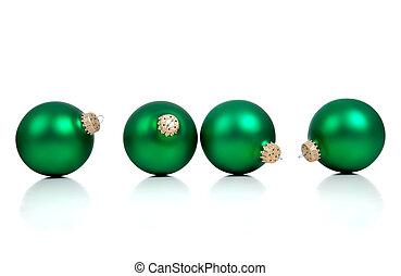 fehér, zöld, karácsony, ornaments/baubles