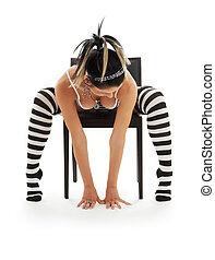 fehérnemű, csíkos, szék, leány