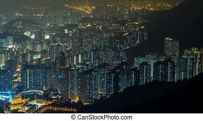 Fei ngo shan Kowloon Peak night timelapse Hong Kong...