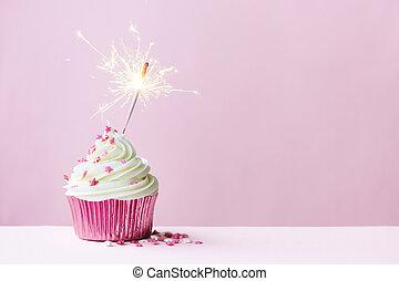feier, cupcake, mit, wunderkerze