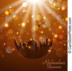 feier, glühen, karte, für, ramadan, kareem