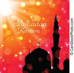 feier, karte, für, ramadan, kareem