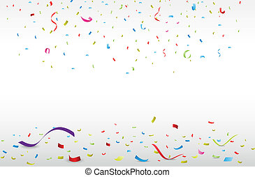 feier, mit, bunte, konfetti