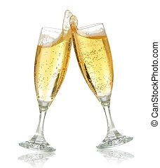 feier, toast, mit, champagner
