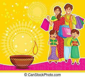 feiern, diwali, familie