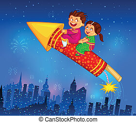feiern, diwali, genießen, feuerwerkskörper, kinder