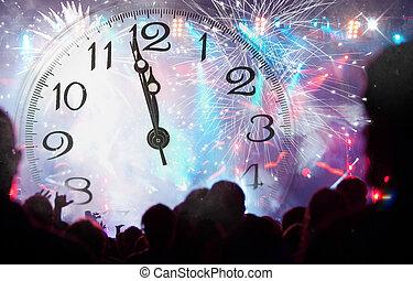 feiern, feuerwerk, neu , crowd, jahr
