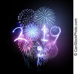 feiern, firework, 2019, jahr, neu , glücklich