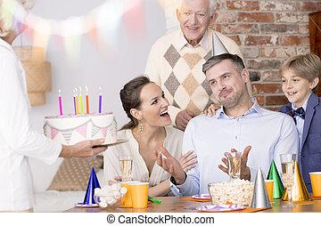 feiern, geburstag, familie, mann