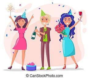 feiern, geburstag, leute, friends, party