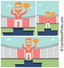 feiern, gewinner, podium., sportler
