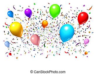 feiern, mit, party, luftballone