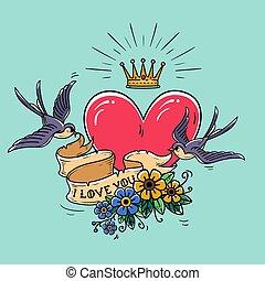 feiertag, abbildung, mit, rotes herz, und, gold, crown., schlucke, fliegen, und, halten, geschenkband, dekoriert, mit, flowers., valentinestag