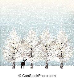 feiertag, bäume, hintergrund, verschneiter , rentier