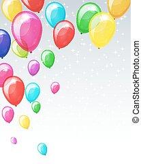 feiertag, balloons., hintergrund
