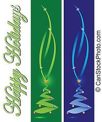 feiertag, baum, weihnachtskarte, glücklich