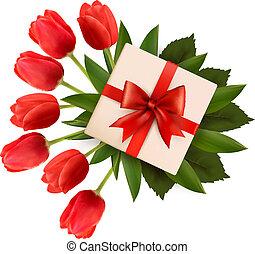 feiertag, box., illustration., geschenk, blumengebinde, vektor, hintergrund, blumen, rotes