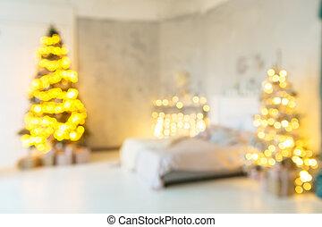 feiertag, dekoriert, zimmer, mit, weihnachtsbaum, fokus, kugel, für, foto, hintergrund