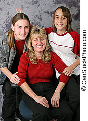feiertag, familie portrait, -, kaninchenohren