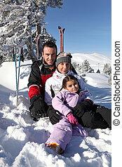 feiertag, familie, ski fahrend