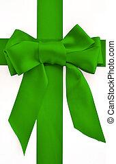 feiertag, grün, schleife, und, geschenkband