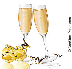 feiertag, hintergrund, mit, neujahrs, kugeln, und, gläser champagner