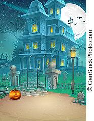 feiertag, karte, mit, a, mysteriös, halloween, geisterbahn, und, unheimlicher , kã¼rbis