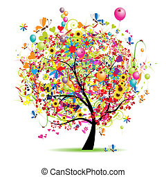 feiertag, lustiges, glücklich, baum, luftballone
