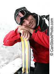 feiertag, mann, ski fahrend