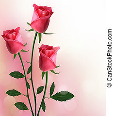 feiertag, roter hintergrund, rosen