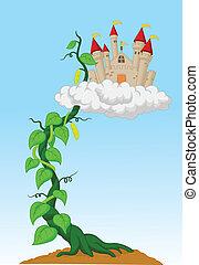 feijão, caricatura, castelo, broto