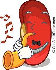 feijão, trompete, caricatura, xícara vermelha