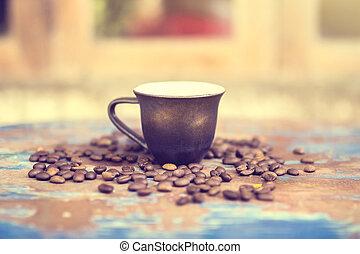 feijões, café, antigas, tabela, copo