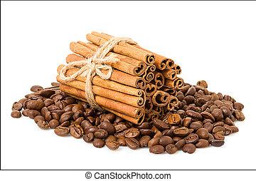 feijões café, e, varas canela