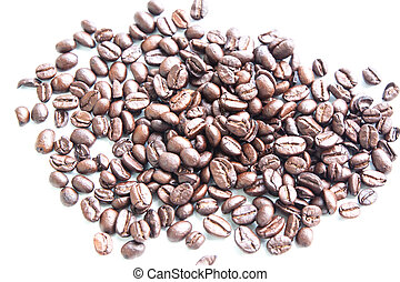 feijões café, fundo, branca