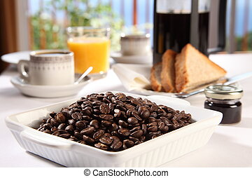 feijões café, xícara fresca, em, bebida fermentada