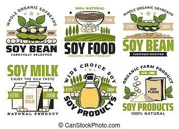 feijões, feta, farinha, miso, óleo, soja, macarronada, leite